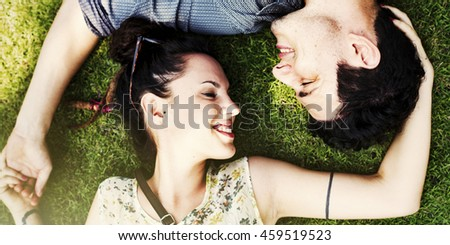 Couple Grass Smiling Love Concept