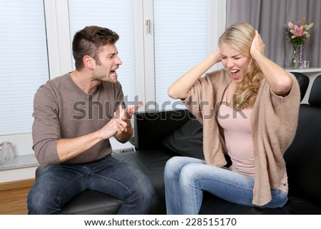 couple has conflicting - stock photo