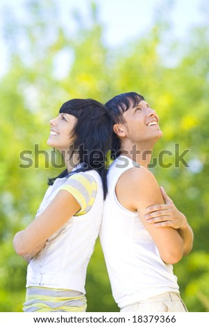 couple have fun outdoor - stock photo