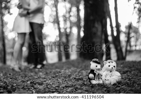 Couple have romantic dating in park - stock photo