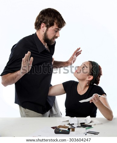 Couple having a fight about finances