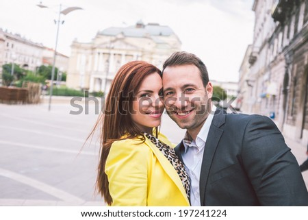 Couple having a great time in the city