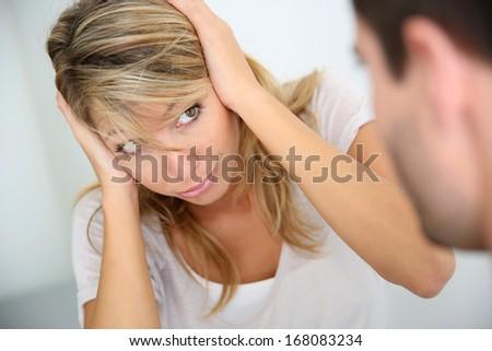 Couple having a violent discussion - stock photo
