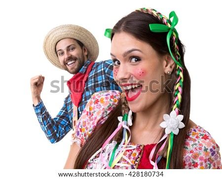Couple having fun on Brazilian Junina Party