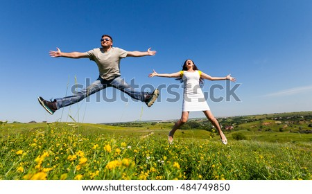 Couple having fun on the meadow