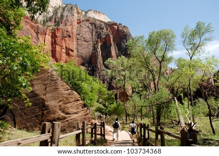 Couple Hiking at Zion National Park Rocky Mountains in Utah, USA - stock photo
