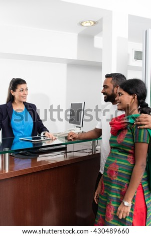 Couple hindu in the hospital reception