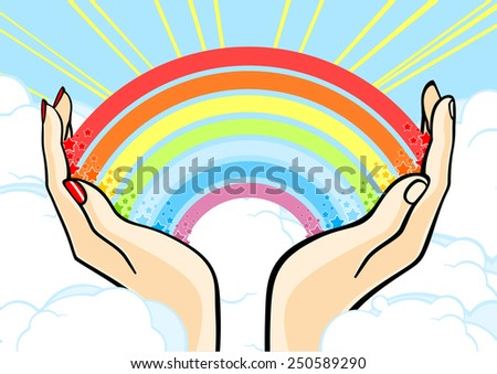 Couple holding a rainbow above clouds (raster version) - stock photo