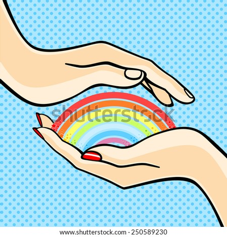 Couple holding a rainbow (raster version) - stock photo