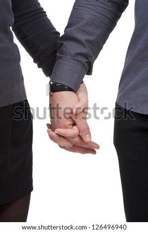couple  holding by hands valentines day - stock photo