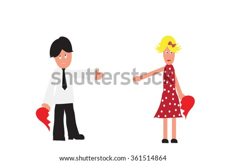 Couple holding half of the hearth symbol as concept for breaking up. Isolated on white background - stock photo