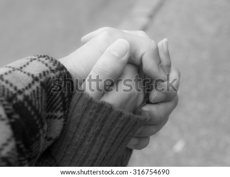 Couple holding hand Black and White