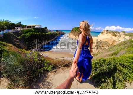 Couple holding hands at Canal D'Amour, Corfu island, Greece - stock photo