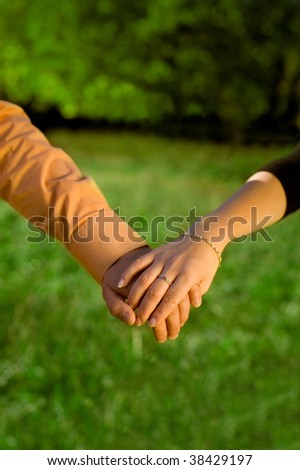 Couple holding hands in a meadow close-up