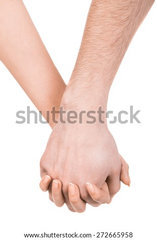 Couple holding hands isolated on white background.