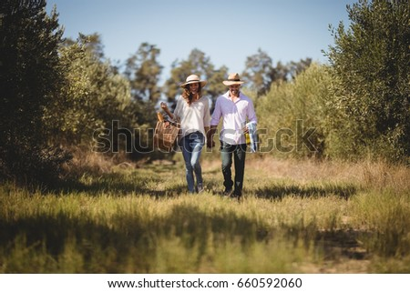 Couple holding hands while carrying picnic basket at olive farm