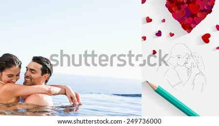 Couple hugging in the pool against sketch of kissing couple with pencil - stock photo