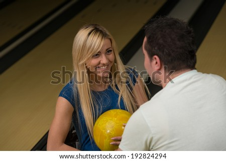 Couple In A Bowling Alley - stock photo