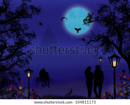 Couple in a city park on beautiful blue night, background illustration