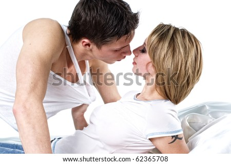 couple in bed - stock photo