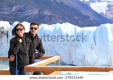 Couple in Glaciar Perito Moreno, El Calafate, Patagonia, Argentina - stock photo