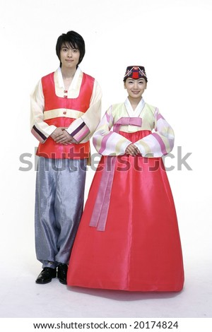 Couple in Korean Traditional Dress