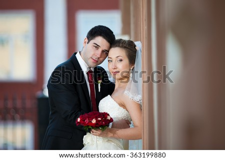 couple in love against the backdrop of historic sites - stock photo