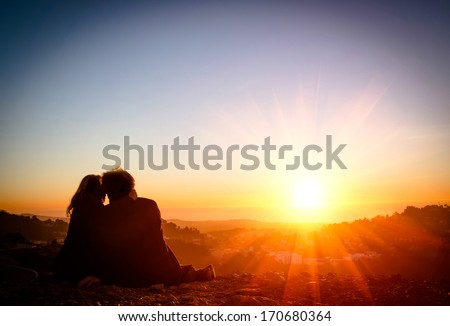 Couple in Love at Sunset - San Francisco Twin Peaks - stock photo