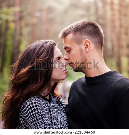 Couple in love, close up - stock photo