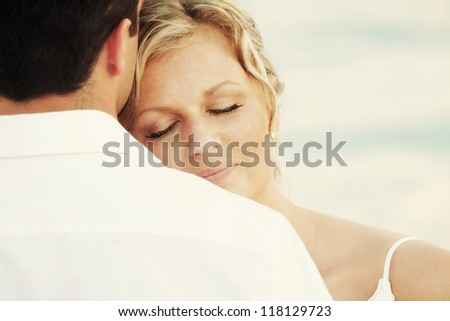 Couple in love - contented woman