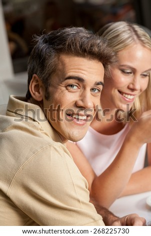 couple in love drinking coffee - stock photo