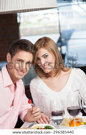 couple in love eating - stock photo