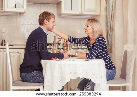 Couple in love having dinner - stock photo