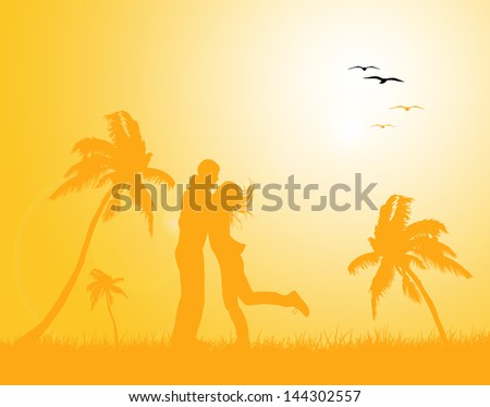 couple in love in beach background