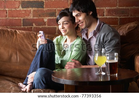 Couple in love in Cafe - stock photo