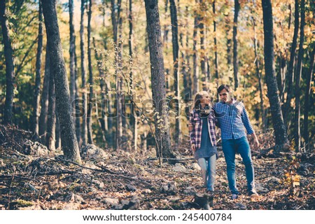 couple in love in the forest
