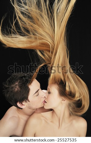 Couple in love kissing each other