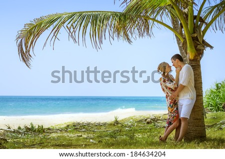 Couple in love on a tropical beach