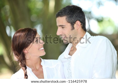 Couple in love on holiday - stock photo