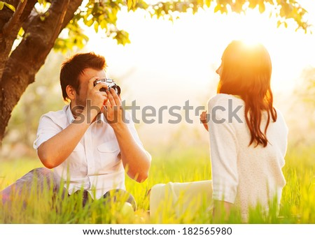 Couple in love on the nature photographed  - stock photo