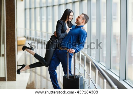 Couple in love on vacation. Couple in the airport.