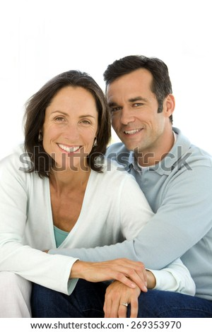Couple in Love over white background - stock photo