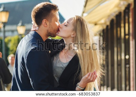 Couple in love. Portrait of attractive happy girl and the guy