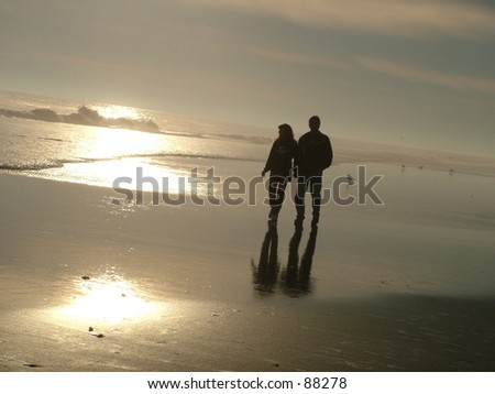 Couple in Love walking on Beach during a Sunset holding hands