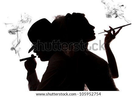 couple in love with the cigarette smoke on a white background - stock photo