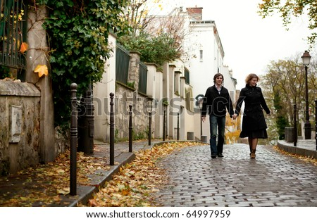 Couple in Paris at Montmartre - stock photo