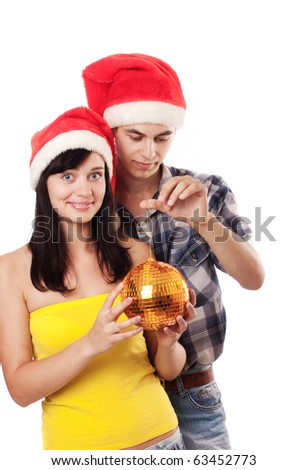 couple in red hat - stock photo