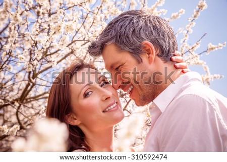 couple in summer spring season - stock photo