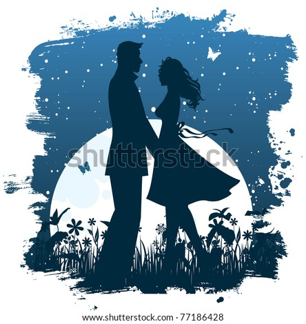 Couple in the night - stock photo
