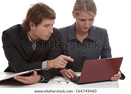 Couple in the office during work, isolated background